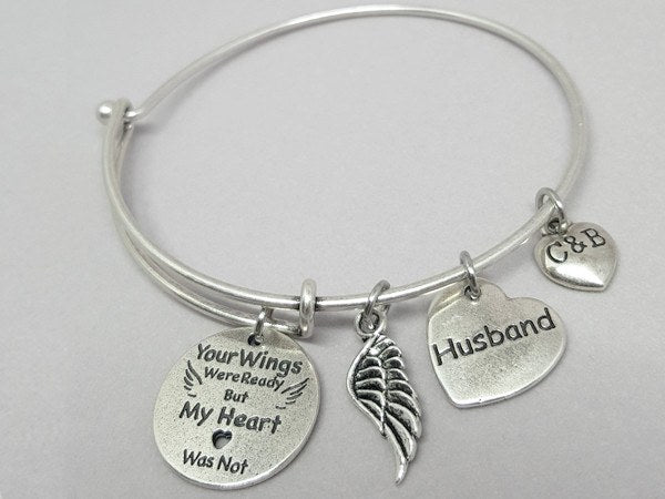 Your Wings Were Ready But My Heart Was Now - Loved One Remembrance Bangle - Charms & Bangles - 1