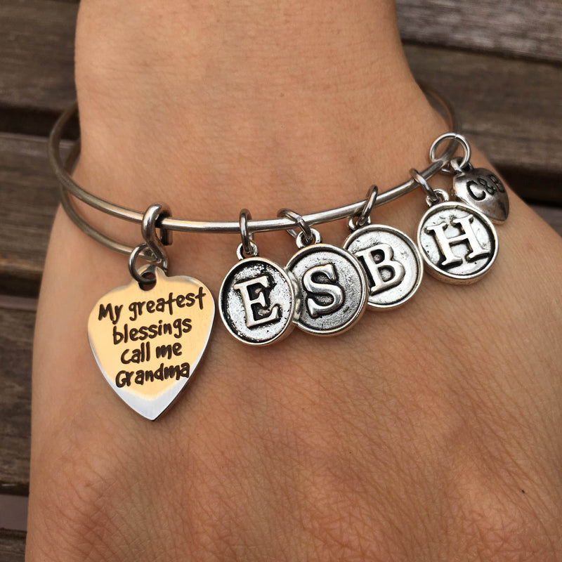Grandchildren blessings grandkids initital charm for Grandmother jewelry you can add to