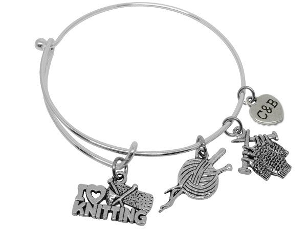I Love Knitting Charm Bracelet Bangle - Charms & Bangles - 1