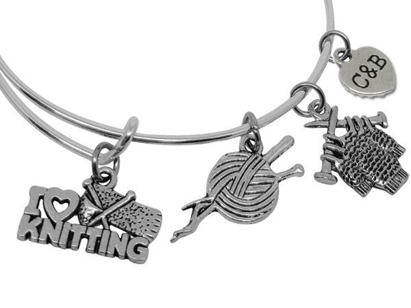 I Love Knitting Charm Bracelet Bangle - Charms & Bangles - 2