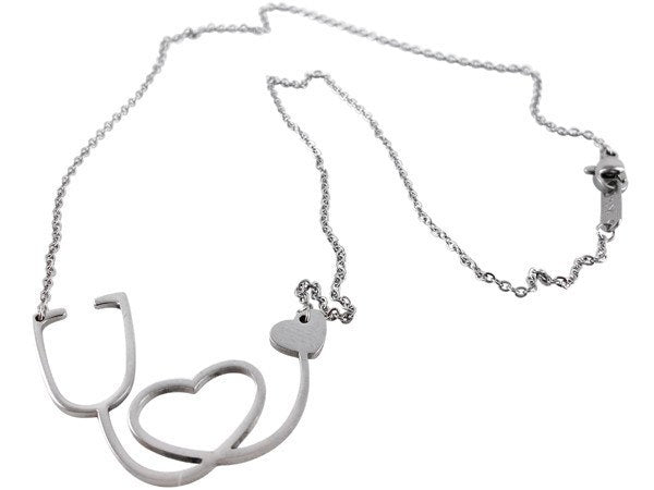 Nurse Stethoscope Heart Necklace - Charms & Bangles - 2