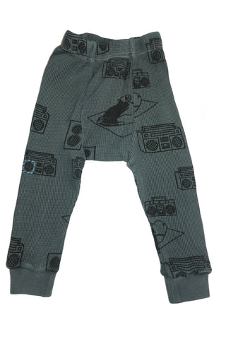 Ice Box Lodge Print Thermal Pant- Gray - Ice Cream Castles