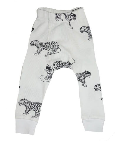 Snow Leopard Print Thermal Pants- White - Ice Cream Castles