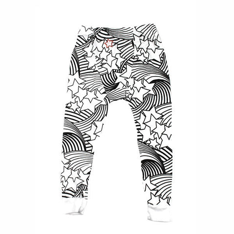 Wave Star Print Leggings- White - Ice Cream Castles