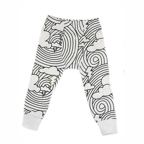 Cloud Lightening Print Leggings- White - Ice Cream Castles