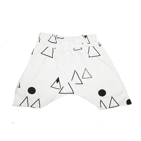 Mountain Print Harem Short- White - Ice Cream Castles