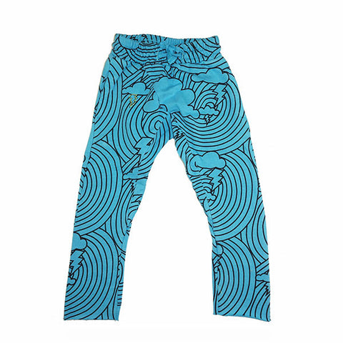 Cloud Lightening Print Harem Pant- Wave - Ice Cream Castles