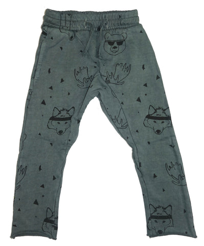 Animal Head Print Harem Pant- Gray - Ice Cream Castles