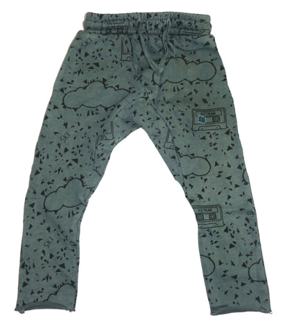 Mint Chip Cassette Print Harem Pant- Grey - Ice Cream Castles