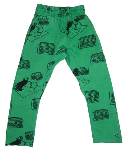 Ice Box Lodge Print Harem Pant- Green - Ice Cream Castles