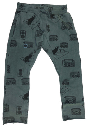 Ice Box Lodge Print Harem Pant- Grey - Ice Cream Castles