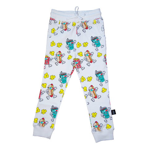 Popcorn Print Joggers in White - Ice Cream Castles Kids
