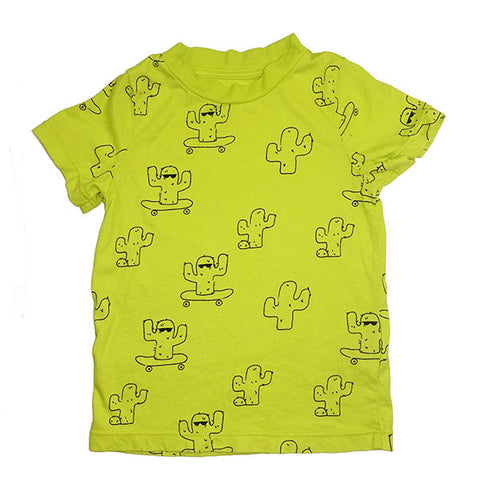 Cactus Repeat Print Tee- Electric Lime - Ice Cream Castles