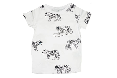 Snow Leopard Print Tee- White - Ice Cream Castles