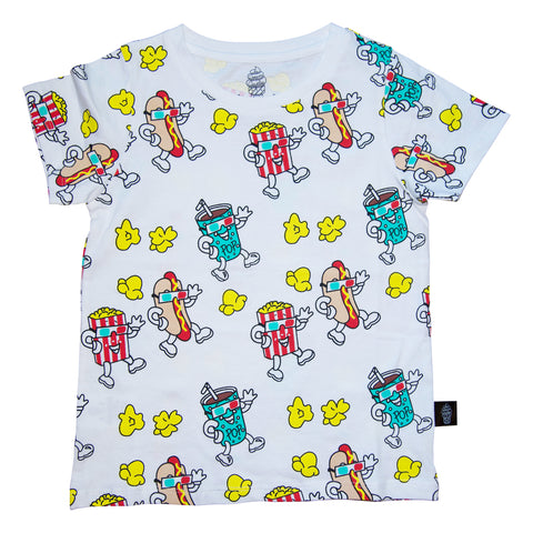 Popcorn Print Tee in White - Ice Cream Castles