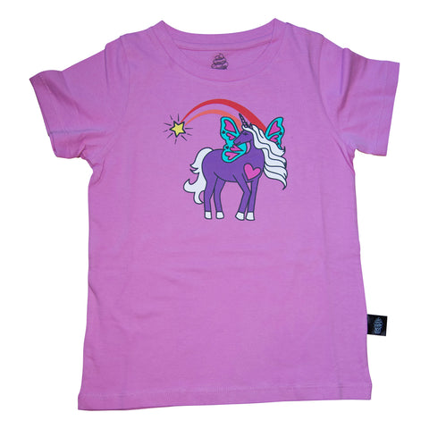 Unicorn Papillon Graphic Tee in Orchid - Ice Cream Castles
