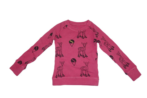 Deer Print Thermal- Pink - Ice Cream Castles Kids