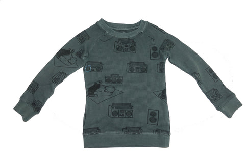 Ice Box Lodge Print Thermal Top- Gray - Ice Cream Castles