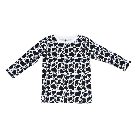 Cow Print Long Sleeve Tee in White - Ice Cream Castles