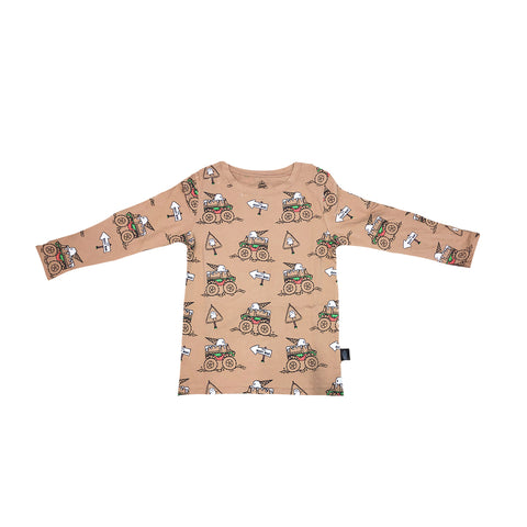 Monster Truck Long Sleeve Tee in Hazelnut - Ice Cream Castles