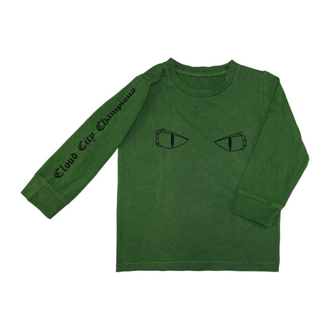 Dragon Eyes Long Sleeve Graphic Tee- Olive - Ice Cream Castles