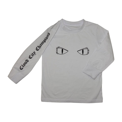 Dragon Eyes Long Sleeve Graphic Tee- White - Ice Cream Castles