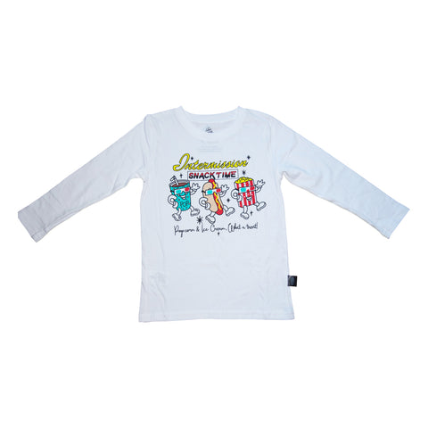 Intermission Graphic Long Sleeve Tee in White - Ice Cream Castles