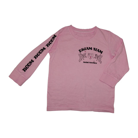 Dream Team Pegasus Long Sleeve Graphic Tee- Blush - Ice Cream Castles Kids