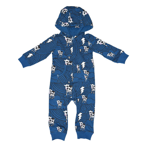 Cow Cloud Print Romper in Blue - Ice Cream Castles