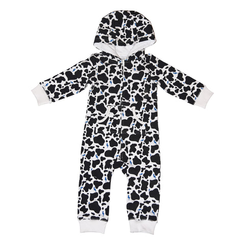 Cow Print Romper in White - Ice Cream Castles