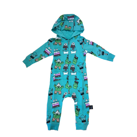Monster Malts Romper in Teal - Ice Cream Castles Kids