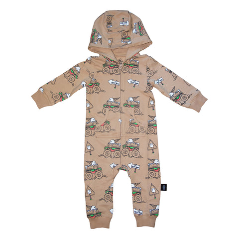 Monster Truck Romper in Hazelnut - Ice Cream Castles Kids