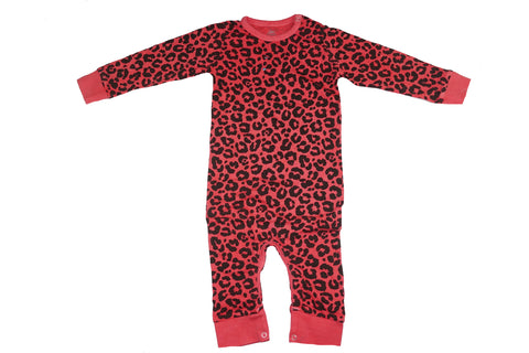 Leopard Print Romper- Red - Ice Cream Castles