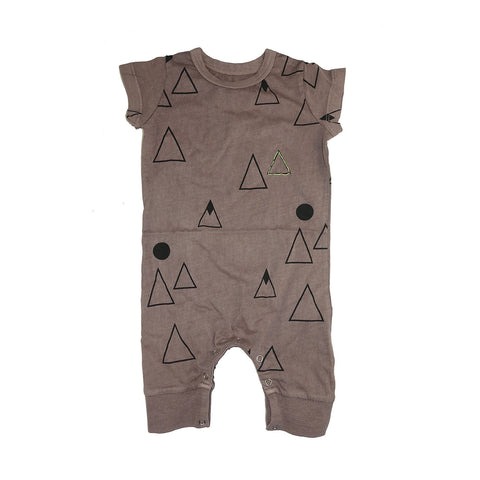 Mountain Print Romper- Stone - Ice Cream Castles