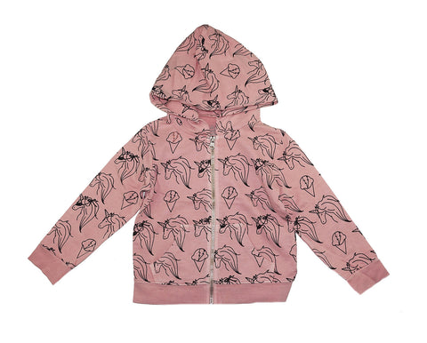 Unicorn Print Hoodie- Pink Haze - Ice Cream Castles