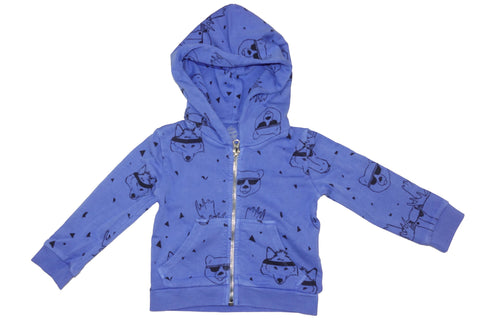 Animal Head Print Hoodie- Blue - Ice Cream Castles Kids