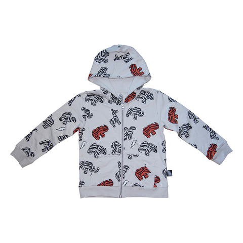 Animal Cookie Zip Hoodie in Gray - Ice Cream Castles