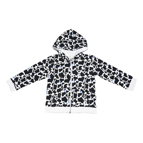 Cow Print Zip Hoodie in White - Ice Cream Castles