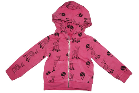 Deer Skating Print Hoodie- Pink - Ice Cream Castles