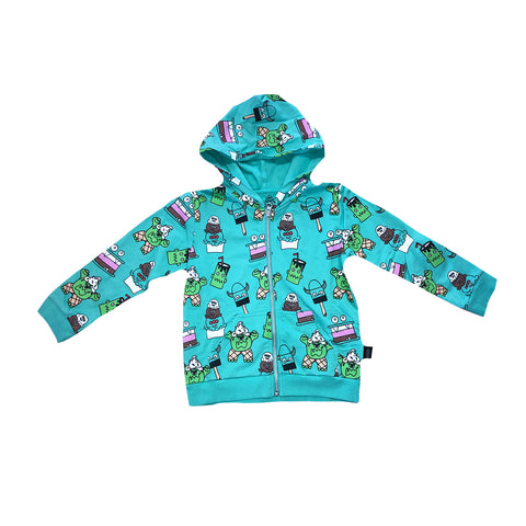 Monster Malts Zip Hoodie in Teal - Ice Cream Castles