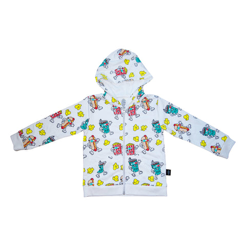 Popcorn Print Zip Hoodie in White - Ice Cream Castles