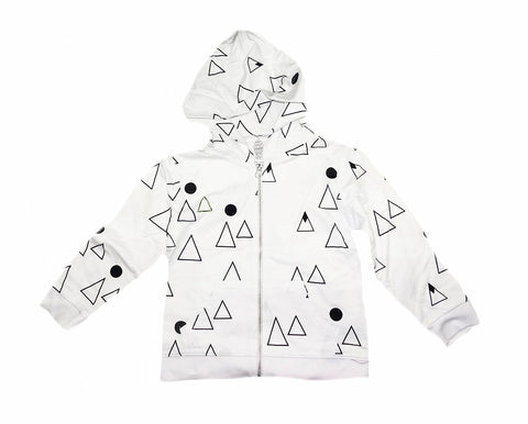 Mountain Print Hoodie- White - Ice Cream Castles