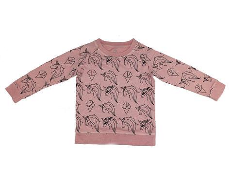 Unicorn Print Sweatshirt- Pink Haze - Ice Cream Castles