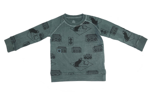 Ice Box Lodge Print Sweatshirt- Grey - Ice Cream Castles