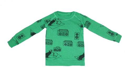 Ice Box Lodge Print Sweatshirt- Green - Ice Cream Castles