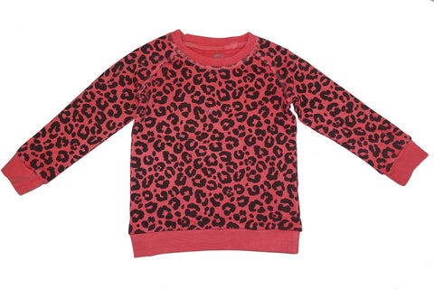 Leopard Print Sweatshirt- Red - Ice Cream Castles Kids