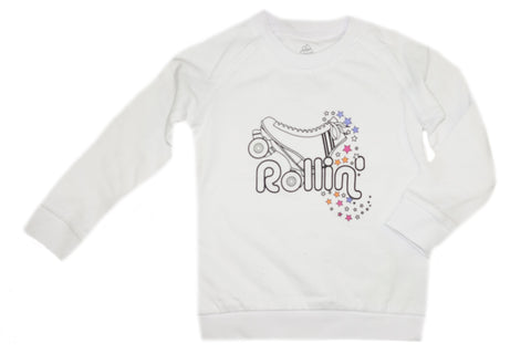 Rollin' Sweatshirt- White - Ice Cream Castles Kids