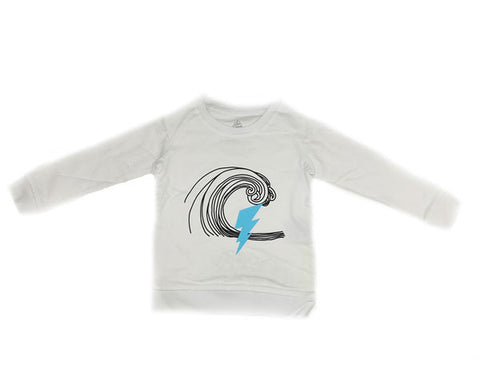"""Lightening"" Surf Graphic Sweatshirt in White - Ice Cream Castles"