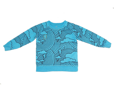 Cloud Lightening Print Sweatshirt