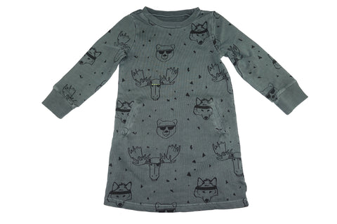 Animal Head Print Dress- Grey - Ice Cream Castles